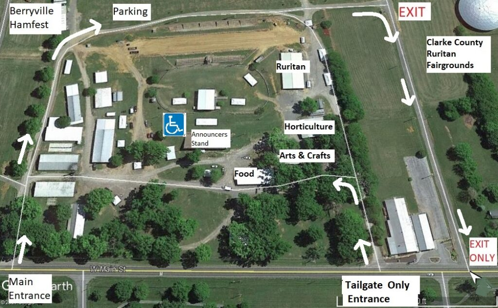 Clarke County Fairgrounds map showing buildings and handicap parking